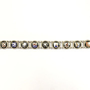 SALE Vintage 800 Silver enamel crest souvenir bracelet Netherlands