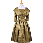 Vintage 1950s Gold Lame and green hued Cocktail Dress with sleeves and portrait style shawl co