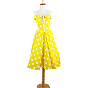 Vintage 1960s Bright Yellow and White Polka Dotted Day Dress with Corseted Lace up Bodice