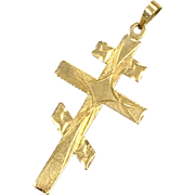 Vintage solid 14 K yellow gold Russian Cross unisex necklace pendant