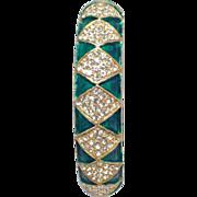 SALE Signed Les Bernard rhinestone and emerald green clamper bracelet
