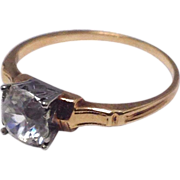 SALE Vintage 1940s white and yellow gold Solitare engagement ring with CZ stone