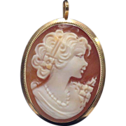 SALE Vintage 14K solid yellow gold cameo pin or pendant with makers mark
