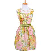 Vintage 1960s Watercolor Floral Printed and Flocked Chiffon Party Dress