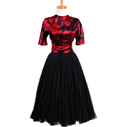 Vintage 1970s Black and Red Silk Jeweled Neckline Party Dress with Short sleeves and a full si