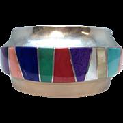 Vintage Signed Franklin Carillo Laguna Sterling Silver and Inlaid Multi-Gemstone Cuff