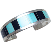 SALE Vintage Signed Aaron Toadlena Sterling Cuff with Inlaid Onyx and Turquoise