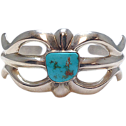 SALE Vintage Signed FJ Sterling and Turquoise Cuff Bracelet