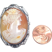 SALE Vintage 14K White Gold Filigree Cameo Pin and Pendant