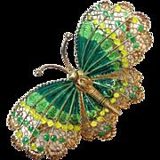 SALE Vintage large Filagree green Enamel butterfly pin signed