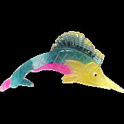 SALE Vintage 1940s Huge multi colored Lucite Swordfish Marlin fish Pin