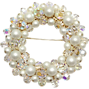 SALE Vintage Signed Alice Caviness  faux Pearl and Crystal wreath brooch
