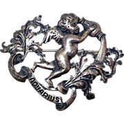 SALE Vintage Signed CINI Large sterling silver Aquarius brooch