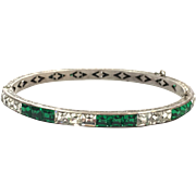 Vintage 1940s Art Deco Sterling Channel Set Emerald Green and Clear Rhinestones Hinged Bracele