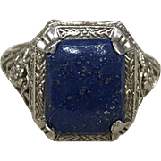 SALE Antique Art Deco 14K white gold filigree Ring with blue lapis stone and flowers