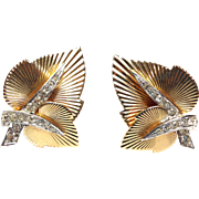 SALE Vintage 1950s signed Boucher numbered Gold tone and Silvertone rhinestone leaf earrings