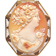 SALE 14k Solid Yellow Gold real carved Shell Cameo pin or pendant