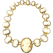 Rare Vintage large conch shell cameo necklace in gold fill setting