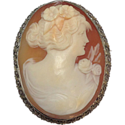 SALE Large Solid 14k white gold Cameo Pin or Pendant