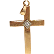SALE Vintage signed solid 14K yellow gold unisex cross pendant with diamond 4 grams