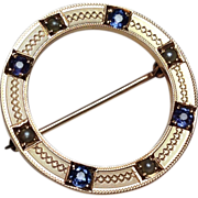 SALE Antique 14k Rose Gold Seed Pearl Sapphire Wreath Pin