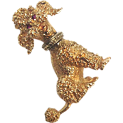 SALE Vintage 1960s Larter and Sons 14K Yellow Gold poodle dog Pin with Ruby eyes