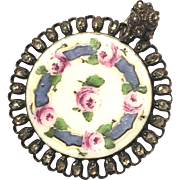 Antique rare French enamel button with rose cut diamonds converted into a necklace pendant