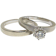 SALE Vintage 14k white gold and diamond solitaire engagement ring and matching band