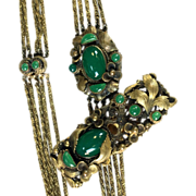 SALE 1940s Etruscan Revival necklace with green glass stones and matching dress clip