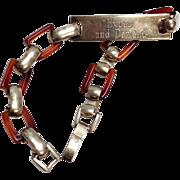SALE Vintage novelty Sterling Silver Tortoiseshell Plastic ID bracelet expect and demand engra