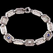 SALE Vintage Art Deco 14K white gold diamond sapphire filigree bracelet