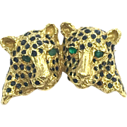 Vintage 1960s 18 Karat Yellow Gold Leopard Slider Pendant or Pin with Emerald Eyes
