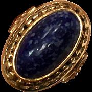 Antique Victorian 14k rose gold Russian blue lapis ring