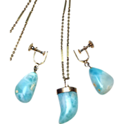 SALE 14k solid gold and Larimar stone necklace and screw back earrings