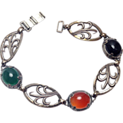 SALE Vintage Sterling Silver leaf bracelet with Onyx, Carnelian, Chrysoprase bezel set stones