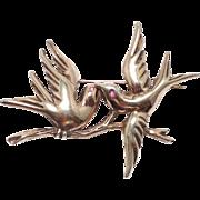 SALE Vintage 1940s sterling love birds brooch with rose gold wash