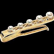 SALE Vintage rare Mikimoto Japan 14K Yellow Gold graduated Cultured Pearl tie bar