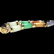SALE Vintage 14 karat gold multicolored Asian themed jade bracelet
