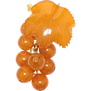 SALE 18k Yellow Gold Orange Russian Amber Grape Pendent or Brooch