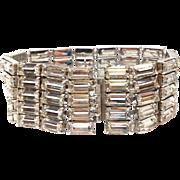 SALE Vintage 1950s Silver Tone Large Baguette Rhinestone Bracelet