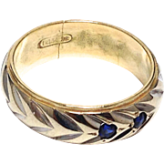 SALE Beautiful vintage 14K white and yellow gold band with two sapphires