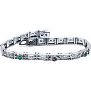 SALE Antique Rhodium plated Art Deco Filigree articulated bracelet signed JHP