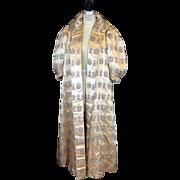 SALE 1960s Silk Brocade Evening Coat with Dragon Motif