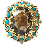 Vintage 1960s solid 18 K yellow gold smoky topaz Persian turquoise cocktail ring