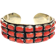 SOLD Vintage solid sterling silver bezel set spiny oyster unisex cuff bracelet