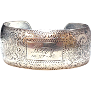 SALE Sterling Silver 1940s engraved cuff for Betty