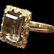 SALE Vintage 1960s 14K yellow gold emerald cut smoky topaz ring
