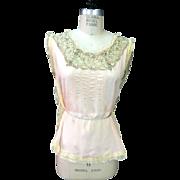 SALE Antique 1920s Silk and Lace Lingerie Top