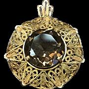 SALE Israel 14K Solid Yellow Gold filigree smoky quartz brooch or pendant