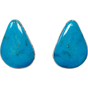 Vintage beautiful signed teardrop turquoise and sterling silver pierced earrings by Bernard ..